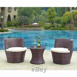 Jardin Meubles En Rotin Vase Set Osier 3pc Meubles De Patio Table Basse D'extérieur