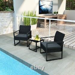 Jardin Rattan Meubles Bistro Set 3pc Chaise Table Patio Extérieur Wicker Noir