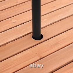 Jardin Table Ronde Chaise Bancs En Bois 6 Seater Patio Parapluie Trou Extérieur
