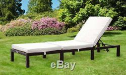 Jour Rotin Lit Sun Lounger Chaise D'extérieur Meubles De Jardin Recliner Patio Terrasse