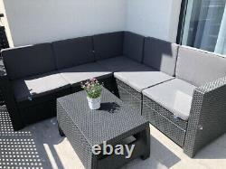 Keter Rattan Garden Set Dark Grey Corner Canapé Table Extérieure Patio Conservatoire