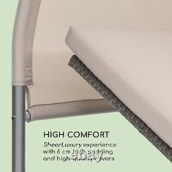 Lit Du Soleil Chaise Longue De Jardin Patio Extérieur Canopy Chaise Longue En Rotin Inclinable Taupe