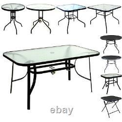 Marko Glass Top Tables Metal Frame Legs Garden Outdoor Indoor Bistro Cafe