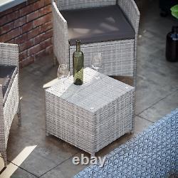 Meubles De Jardin De Rattan Bistro Set 2 Seater Chaise De Table Extérieur Patio Gris
