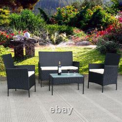 Meubles De Jardin De Rotin 4pc Ensemble Conservatory Patio Chaises De Table Extérieures Black Uk