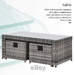 Meubles De Jardin En Rotin Set Canapé D'angle 8 Places Avec Café Table Patio Extérieur