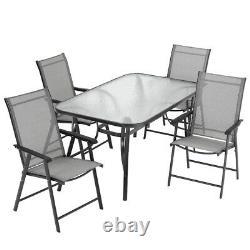 Meubles De Jardin Ensemble Grandes Chaises De Table Extérieur Patio Siège Tabletop Parasol Hole