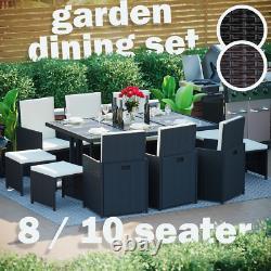 Meubles De Jardin Rattan 8 10 Seater Table Chaises Cube Set Patio Extérieur