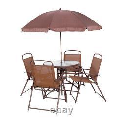 Meubles De Patio De Jardin 6pcs Ensemble Brun Extérieur 4 Places Grande Table Ronde Parasol