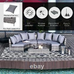 Meubles En Rotin De Jardin 4 Sièges Demi-rond Sofa Extérieur De Patio Et Gris De Table