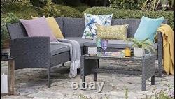 Meubles Extérieurs Gris De Jardin De Rotin 5 Seat Corner Sofa & Table Dining Patio Set