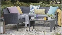 Meubles Extérieurs Gris De Jardin De Rotin 5 Sofa D'angle De Siège Et Ensemble De Patio De Table Basse