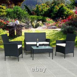 Meubles Noirs De Jardin De Rotin Ensemble 4 Chaises De Pièce Sofa Table Outdoor Patio Set Uk