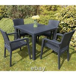 Meubles Patio Extérieur Set 4 Chaises Table Garden Coffee Bistro Set Rattan Style