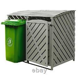 Outdoor En Bois Double Wheelie Rubbish Bin Store Cover Recycling Storage Unit