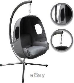 Outdoor Hanging Garden Balançoire Egg Chair Seat Tissu Gris Coussin Cocoon Patio