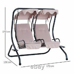 Outsunny 2 Seater Garden Swing Seat Patio Swing Chair Hammock Canopy