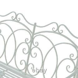 Outsunny 2 Seater Metal Garden Bench Chaise À Bascule Extérieure Patio White Love Seat