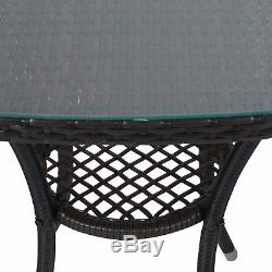 Outsunny 3pc Meubles En Rotin Ensemble Bistro Chaise Table De Jardin Patio Extérieur En Osier