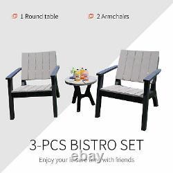 Outsunny 3pc Patio Bistro Ensemble Meubles De Jardin Extérieurs Ensemble Avec Table Et Chaises