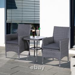 Outsunny 3pc Rattan Bistro Set Wicker Furniture For Garden Outdoor Balcony Patio