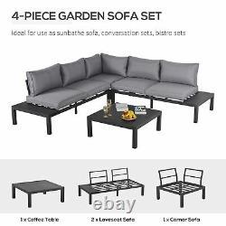 Outsunny 4pc Aluminium Garden Corner Sofa Set Table Basse Rembourrée Patio Extérieur