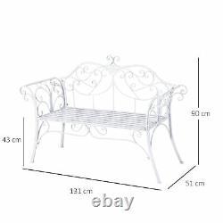 Outsunny Garden Chair Metal Bench Extérieur Patio Deck Seat Yard Furniture Sièges