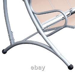 Outsunny Garden Metal Swing Chair Patio Hamac 3 Seater Banc Réglable À Baldaquin