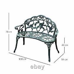 Outsunny Garden Meubles Banc Patio Chaise Deck Cast Aluminium Metal Love Seat