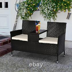 Outsunny Garden Rattan Companion Siège De Chaise Extérieure Ensemble De Table Patio Seat Bench