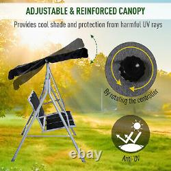 Outsunny Metal Swing Chair Garden Hammock 3 Seater Banc Canapy Lounge