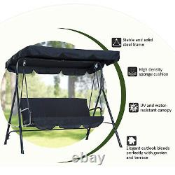 Outsunny Patio Metal Swing Chair Hamac Extérieur 3 Seater Canopy Garden Bench
