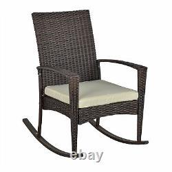 Outsunny Patio Rattan Rocking Chair Bistro Seat Wicker Jardin Extérieur Avec Coussin