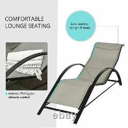 Outsunny Patio Textilene 3 Pièces Lounge Chaise Set Jardin Recliner Avec Table Grise