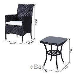 Outsunny Rotin Bistro Set Chaise Table De Jardin Patio Conservatoire Coussin Extérieur