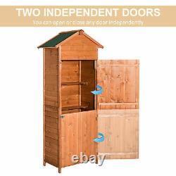 Outsunny Wood Garden Shed Apex Roof Patio Outdoor Timber Tool Kit Étagère De Rangement