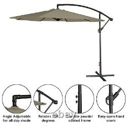 Parasol 3m Banane Autonome Suspension Cantilever Garden & Patio Sun Parapluie