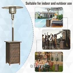 Patio Heater Free Standing Wicker Rattan Courtyard Jardin Extérieur 12kw
