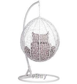 Patio Jardin Balancez Rotin Blanc Weave Hanging Egg Chair & Cushion Extérieur Intérieur