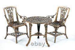 Patio Set Bistro Table Et Chaises Meubles De Jardin Outdoor'rose' Design Bronze