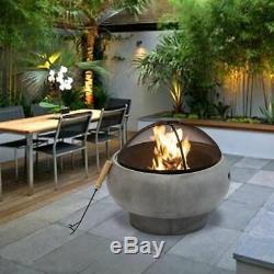 Peaktop Extérieur Jardin Round Patio À Bois Fire Pit & Bbq Grill Hr17501ab