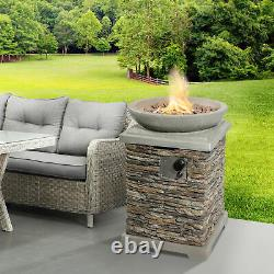 Peaktop Outdoor Garden Patio Square Stone Look 29 Gas Fire Pit Hf29308aa-royaume-uni