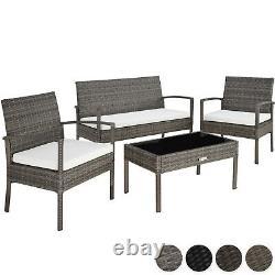 Poly Rattan Garden Furniture 2 Chaises Bench Table Set Outdoor Patio Wicker Nouveau