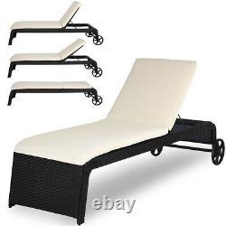 Poly Rattan Sun Lounger Garden Day Bed Coussin Patio Extérieur Patio Inclinable