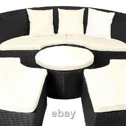 Poly Rotin Jardin Jour Lit Ø185cm Patio Sun Lounge Noir Outdoor Sofa Furniture