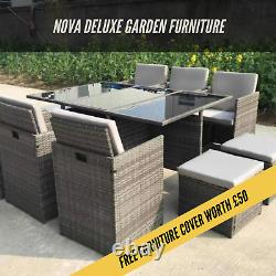 Rattan 10 Seater Garden Meubles De Salle À Manger Cube Canapé Set Table Patio Extérieur 11