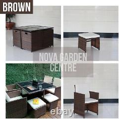 Rattan 8 Seater Garden Meubles De Salle À Manger Cube Canapé Set Table Extérieur Patio Wicker