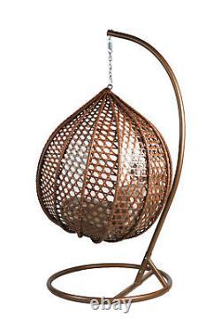 Rattan Brown Suspension Egg Chaise Patio Jardin Intérieur Extérieur Avec Coussin Large