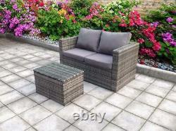Rattan Corner Wicker Garden Table Extérieure Et Chaises Meubles Patio Set Gris