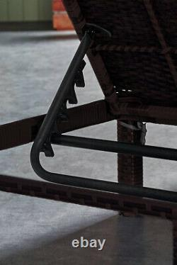 Rattan Day Bed Sun Louncer Chaise Inclinable Jardin Extérieur Meubles Patio Siège
